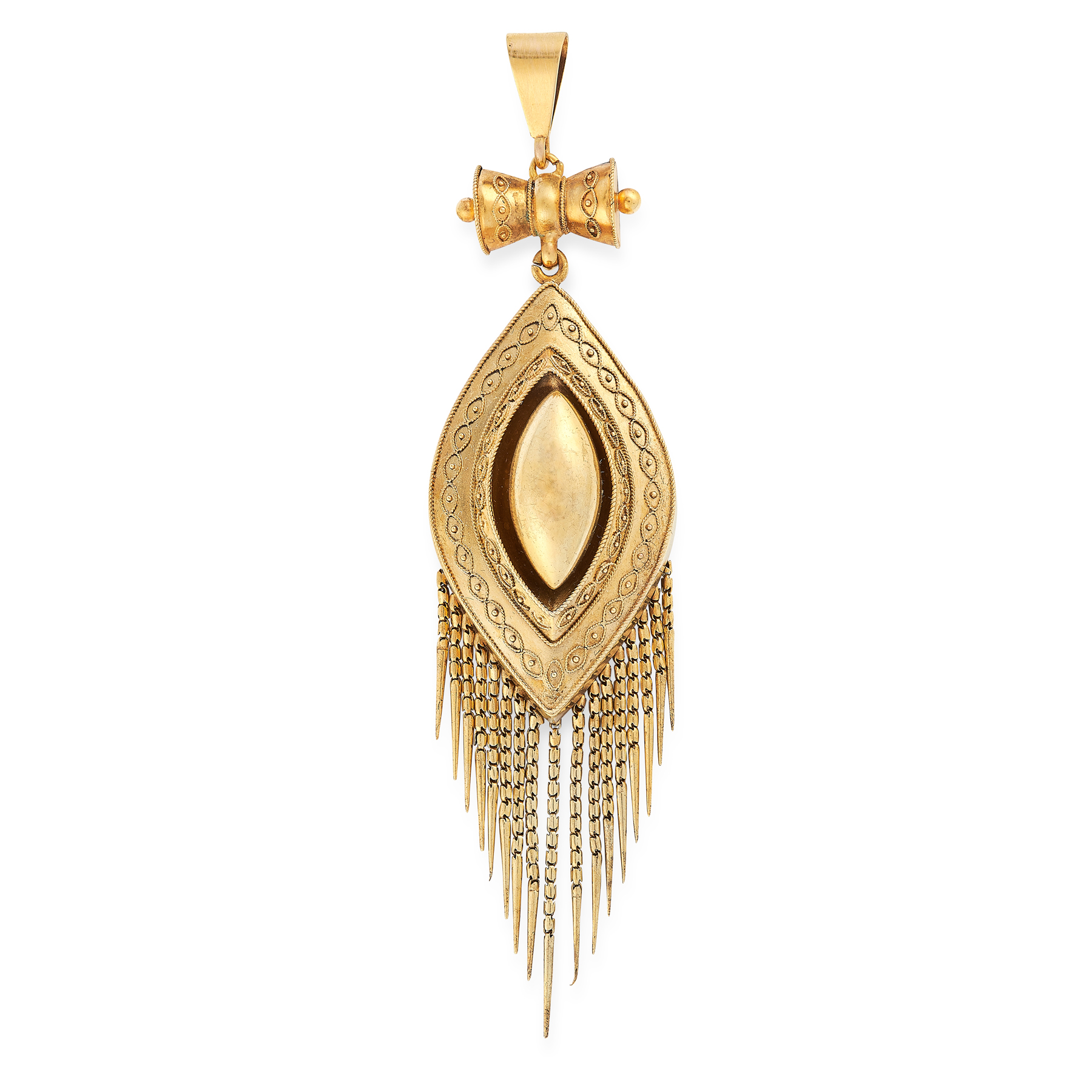 AN ANTIQUE MOURNING LOCKET TASSEL PENDANT, 19TH CENTURY in yellow gold, the nanette body decorated