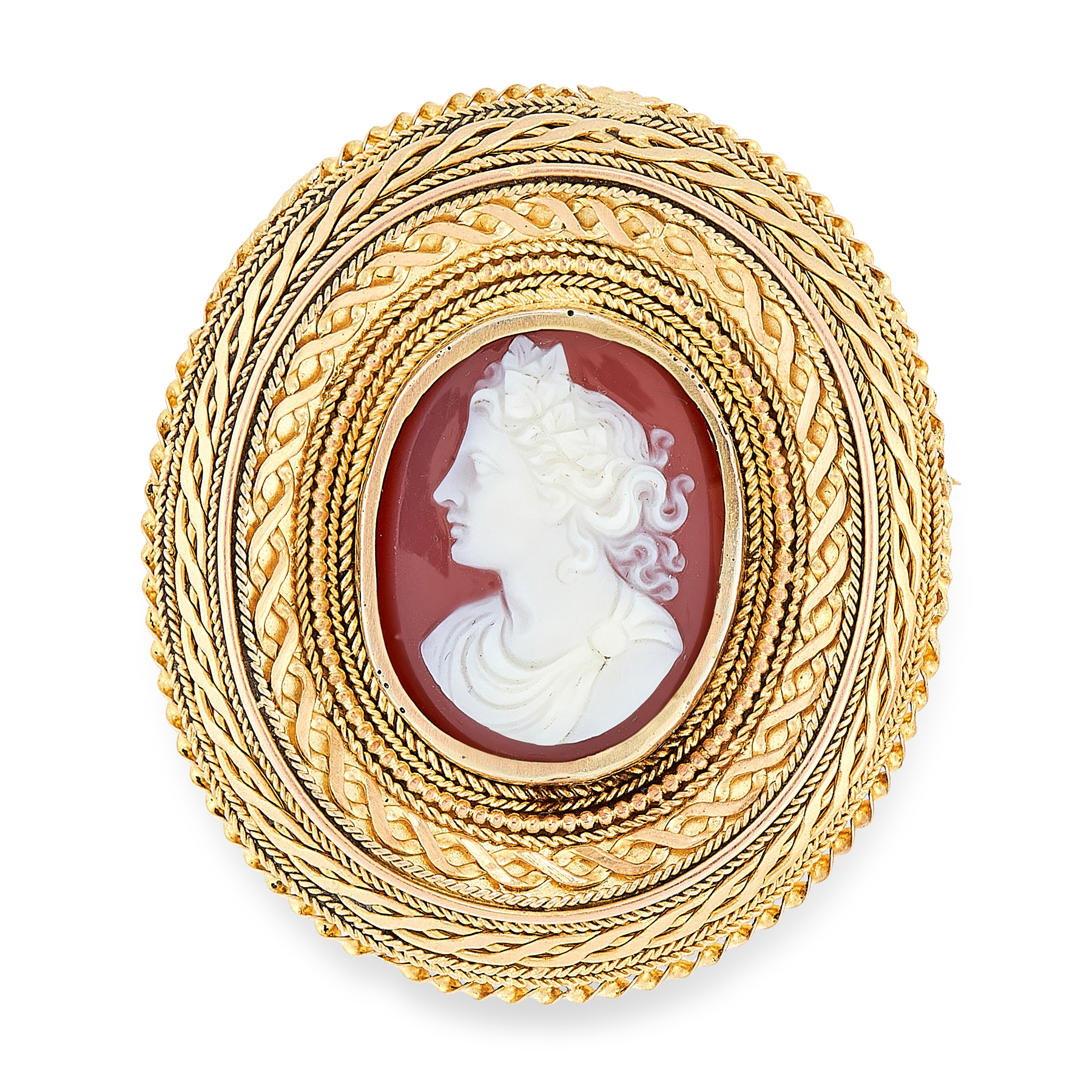 AN ANTIQUE AUSTRALIAN CAMEO BROOCH, GAUNT in high carat yellow gold, depicting a lady in an ornate