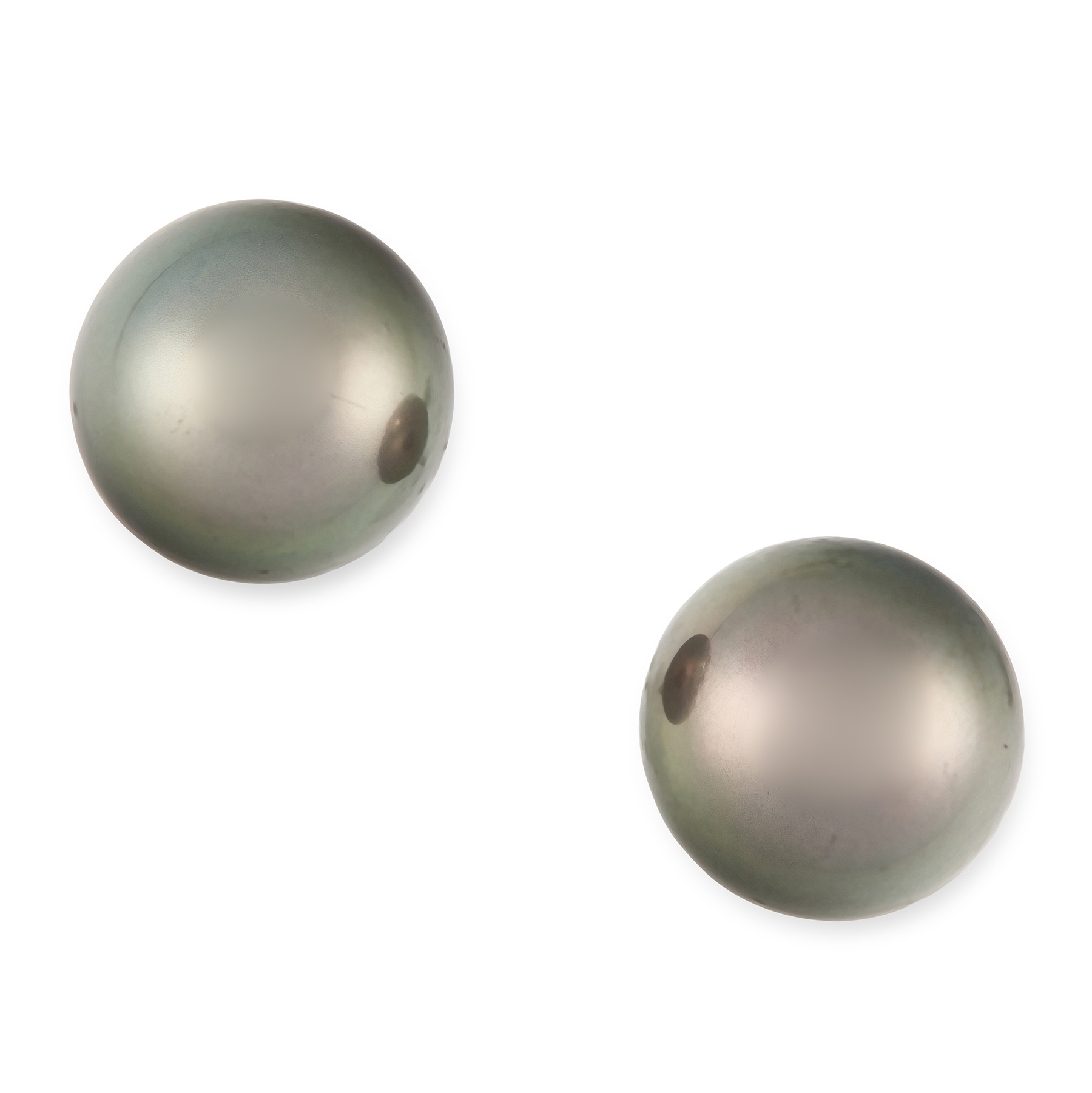 A PAIR OF BLACK PEARL STUD EARRINGS in 18ct white gold, each set with a black pearl of 12.65 mm,