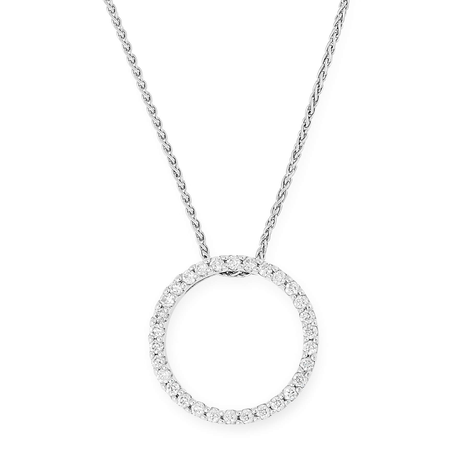 A DIAMOND PENDANT AND CHAIN in 18ct white gold, designed as an open circle set with round cut