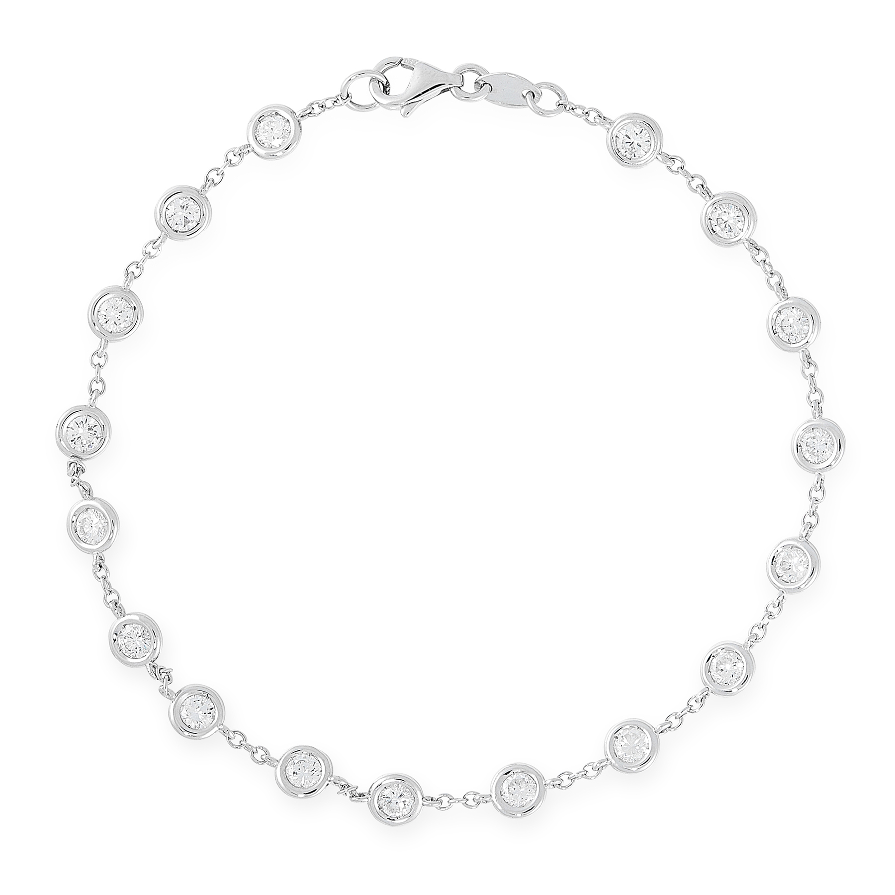 A DIAMOND BRACELET in 18ct white gold, in the manner of Tiffany & Co Diamond by the Yard, set with