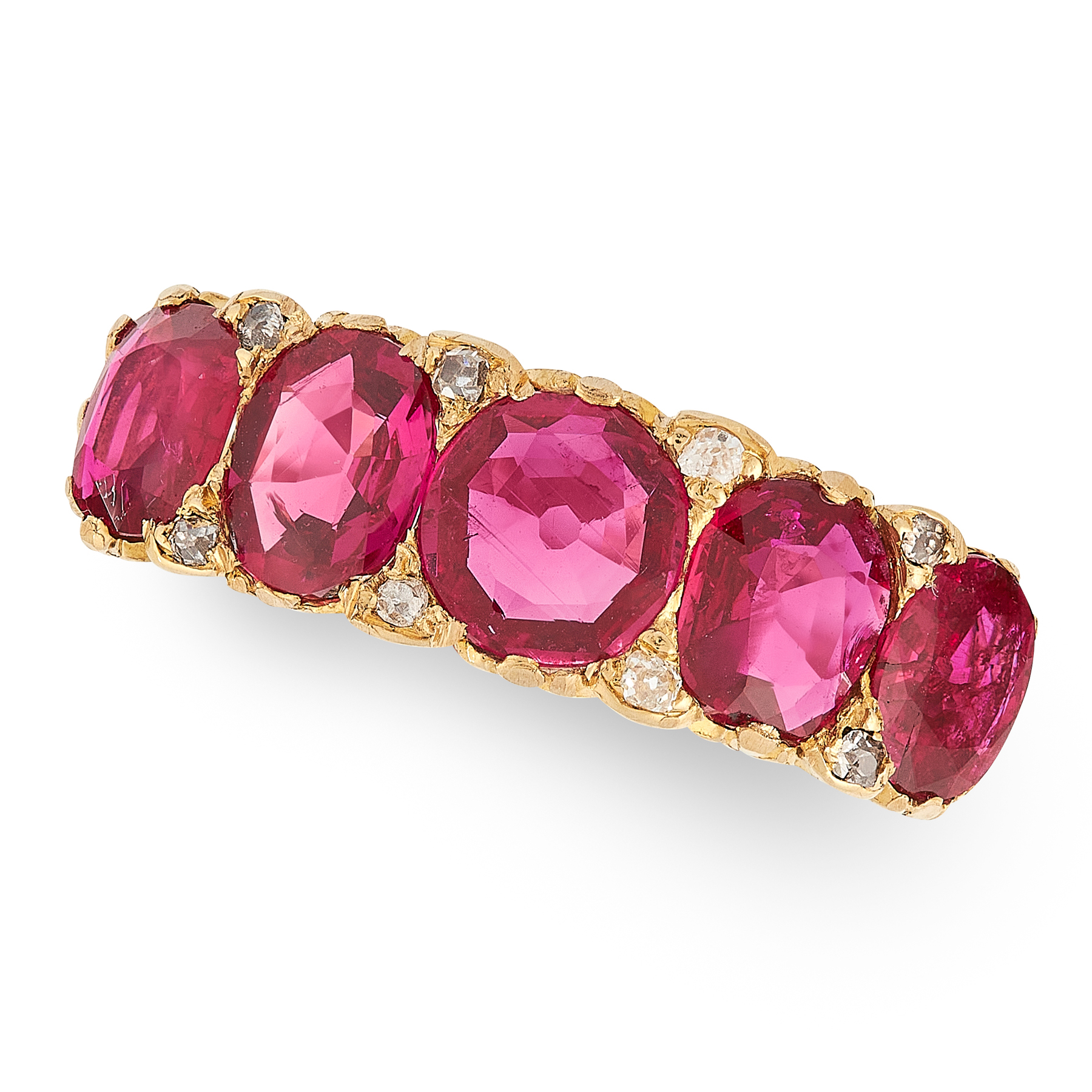 AN ANTIQUE EDWARDIAN RUBY AND DIAMOND FIVE STONE RING in 18ct yellow gold, set with five round and