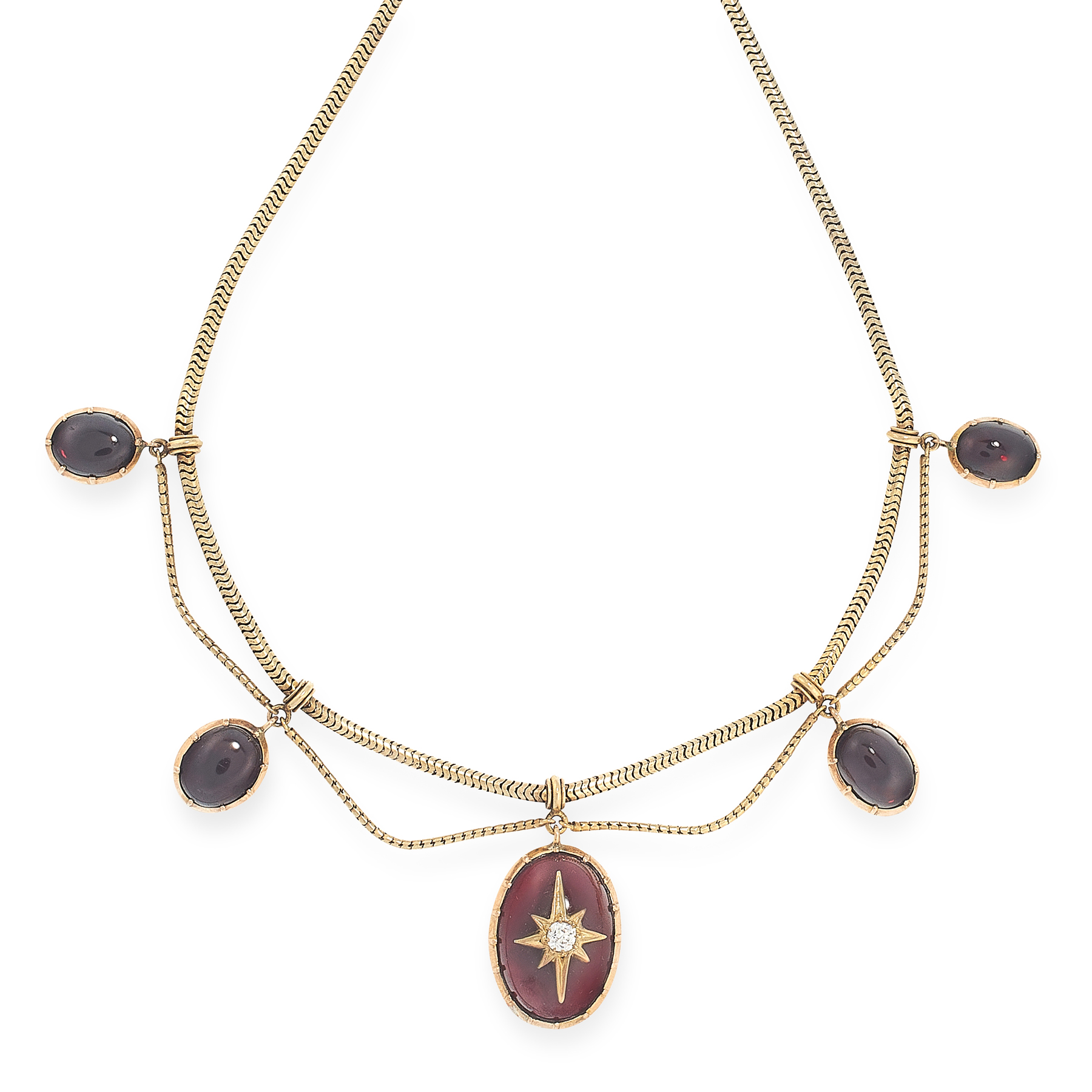 AN ANTIQUE GARNET AND DIAMOND NECKLACE in high carat yellow gold, the textured gold chain suspends