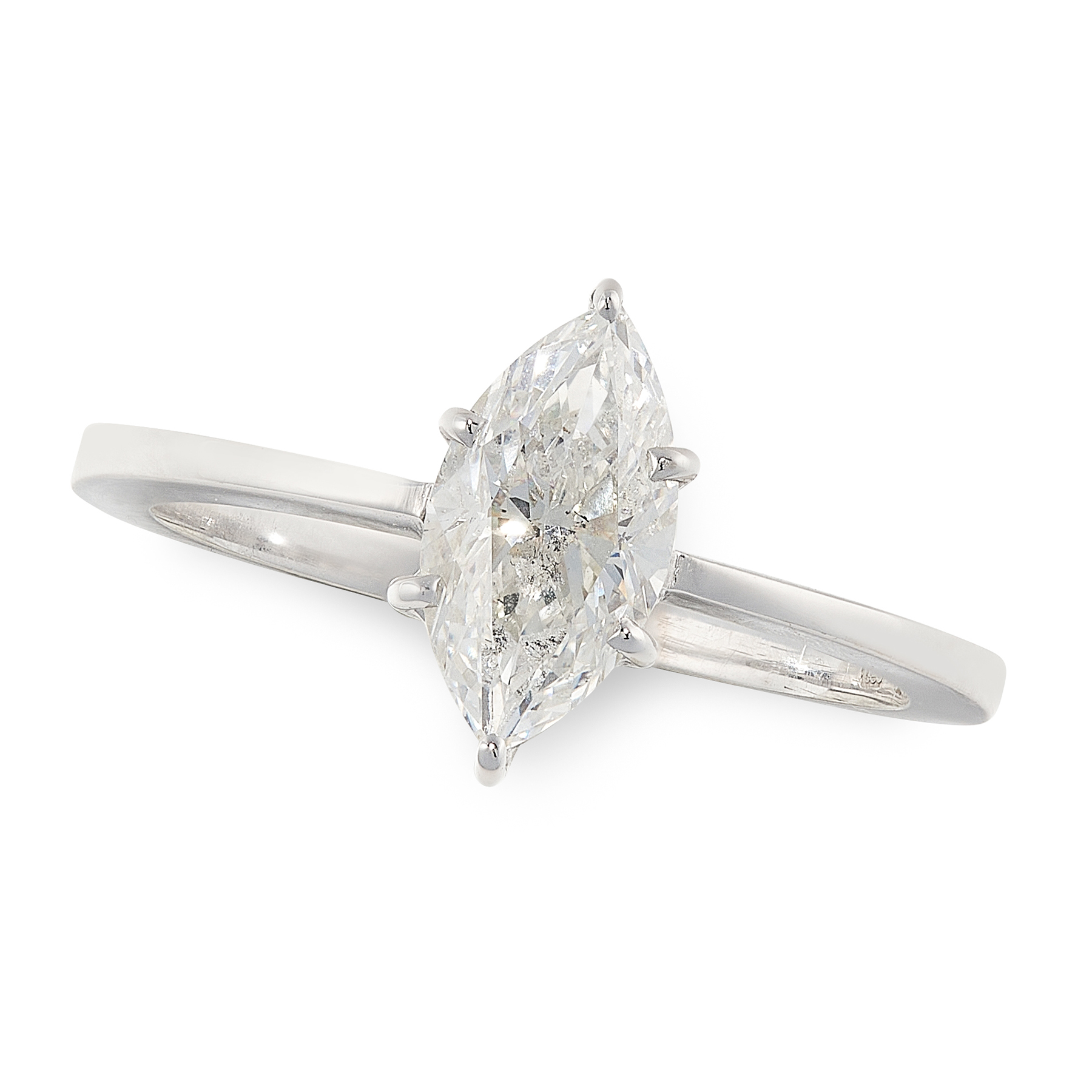 A DIAMOND SOLITAIRE RING in 18ct white gold, set with a marquise cut diamond of 1.13 carats, stamped