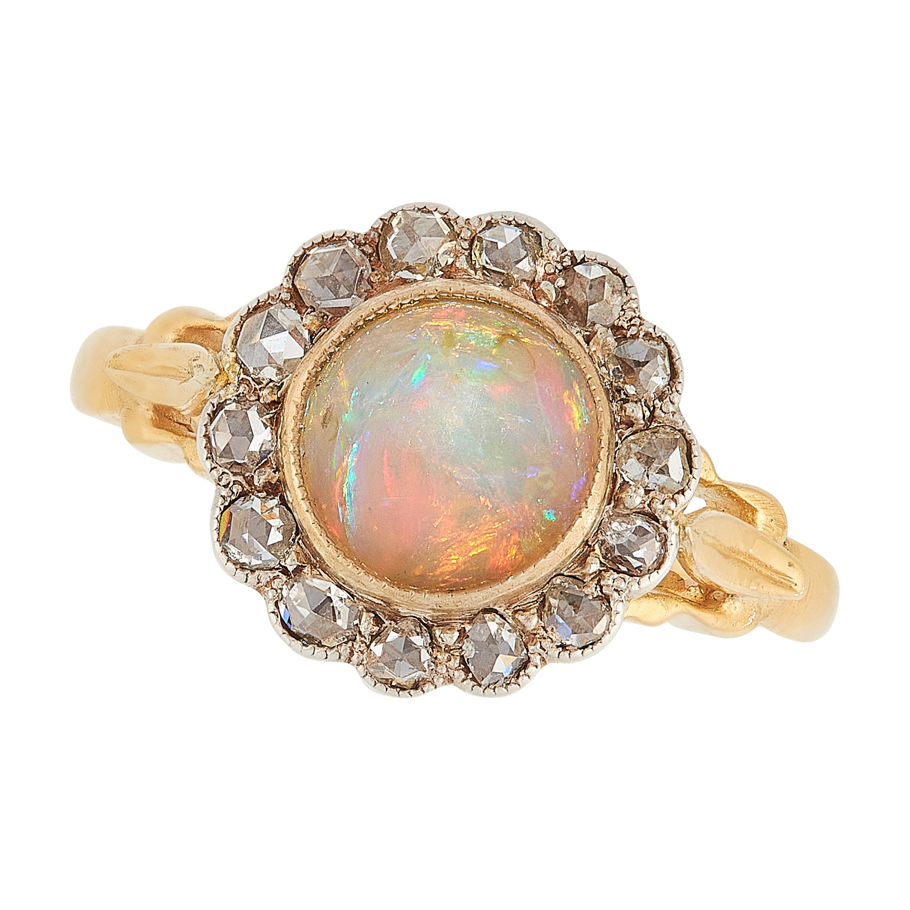 AN OPAL AND DIAMOND CLUSTER RING in high carat yellow gold, set with a cabochon opal in a border
