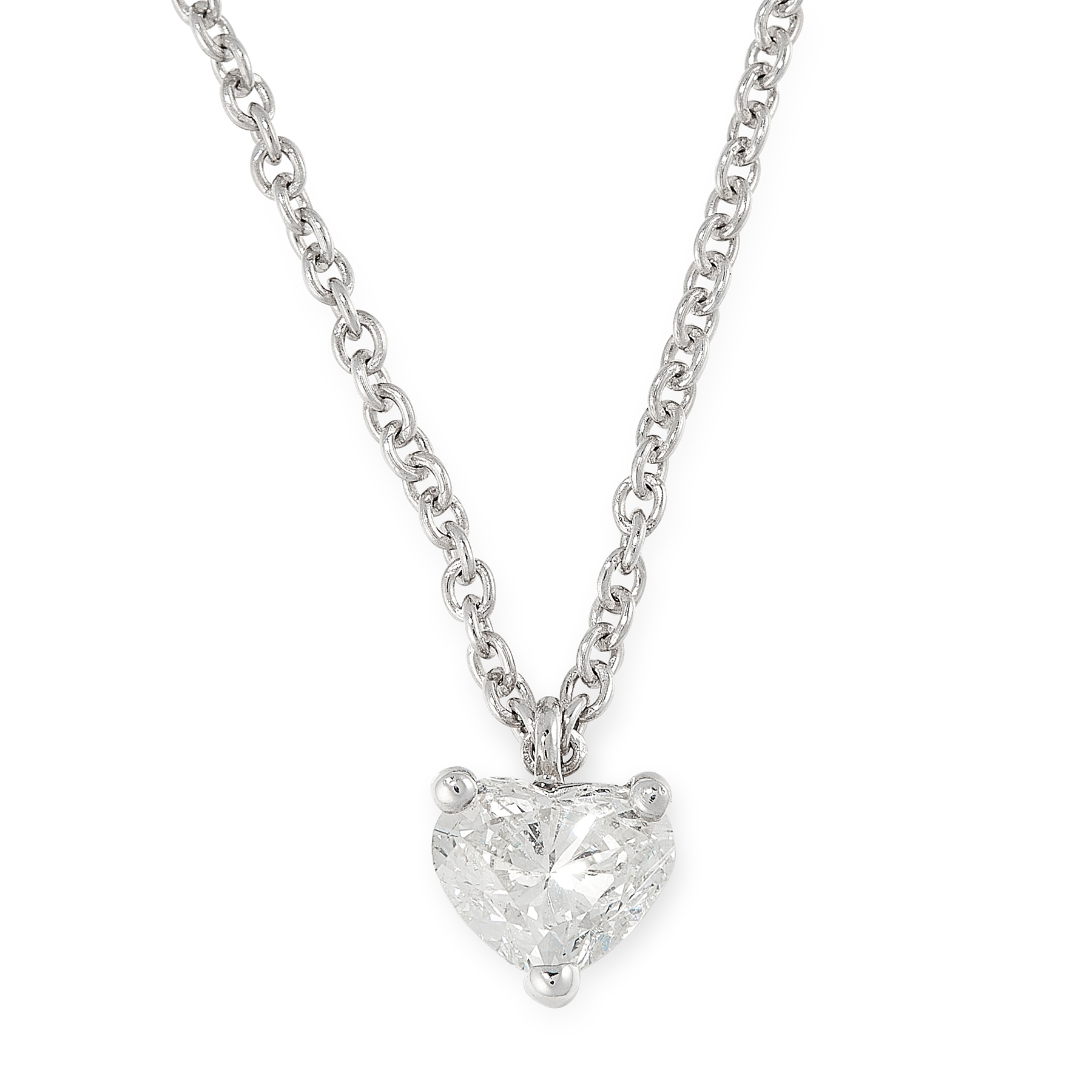 A DIAMOND PENDANT AND CHAIN in 18ct white gold, set with a heart cut diamond of 0.94 carats on a