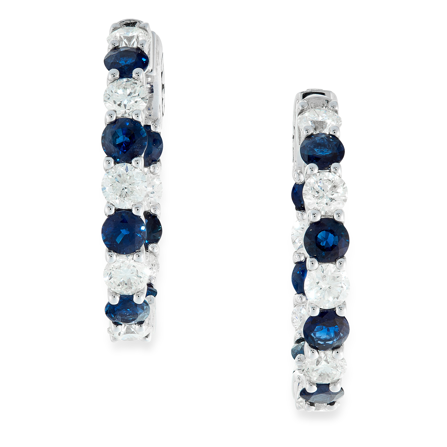 A PAIR OF SAPPHIRE AND DIAMOND HOOP EARRINGS in 18ct white gold, set with alternating round cut