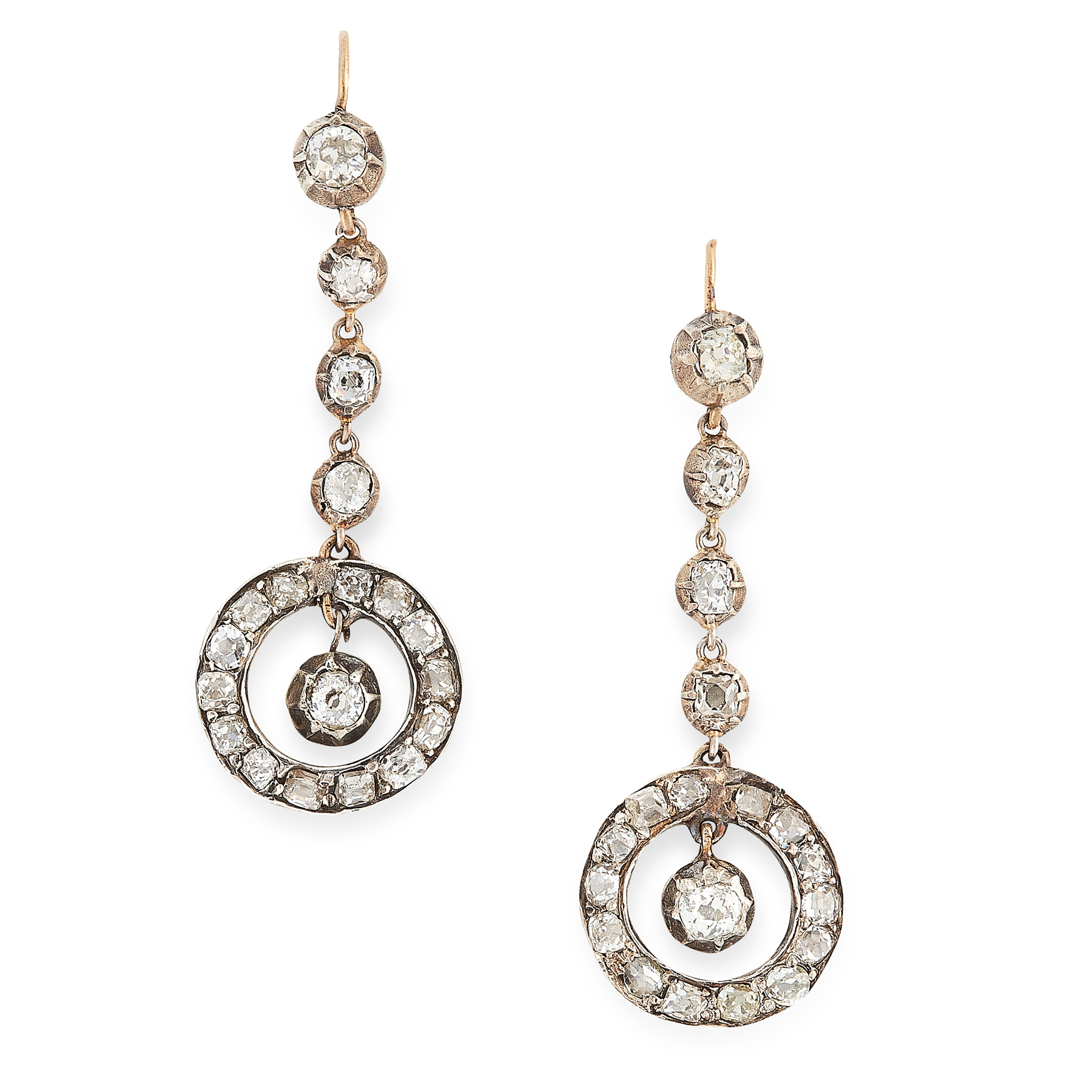A PAIR OF ANTIQUE DIAMOND DROP EARRINGS in yellow gold and silver, each formed of a row of old cut