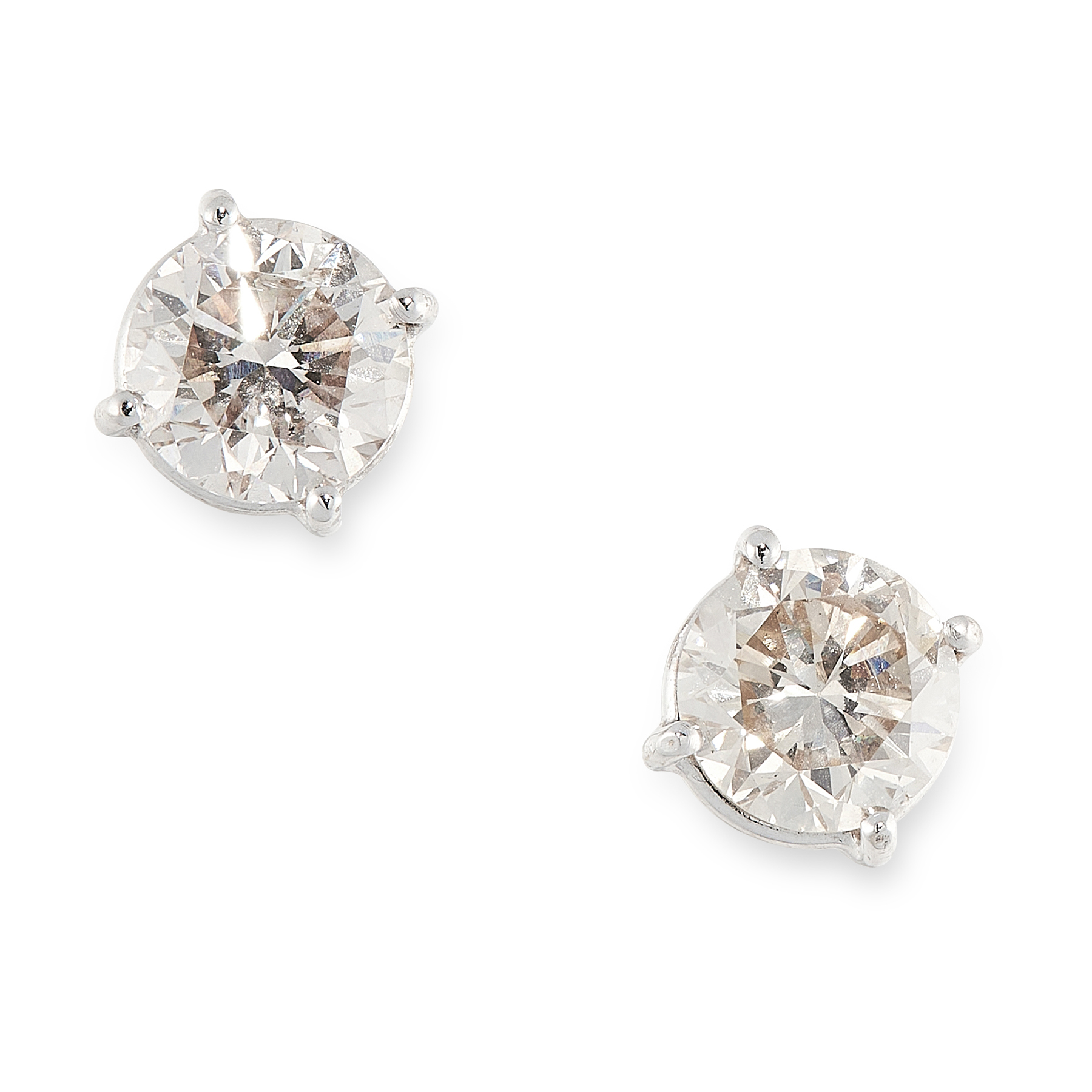 A PAIR OF DIAMOND STUD EARRINGS in 18ct white gold, set with round cut diamonds totalling 2.03