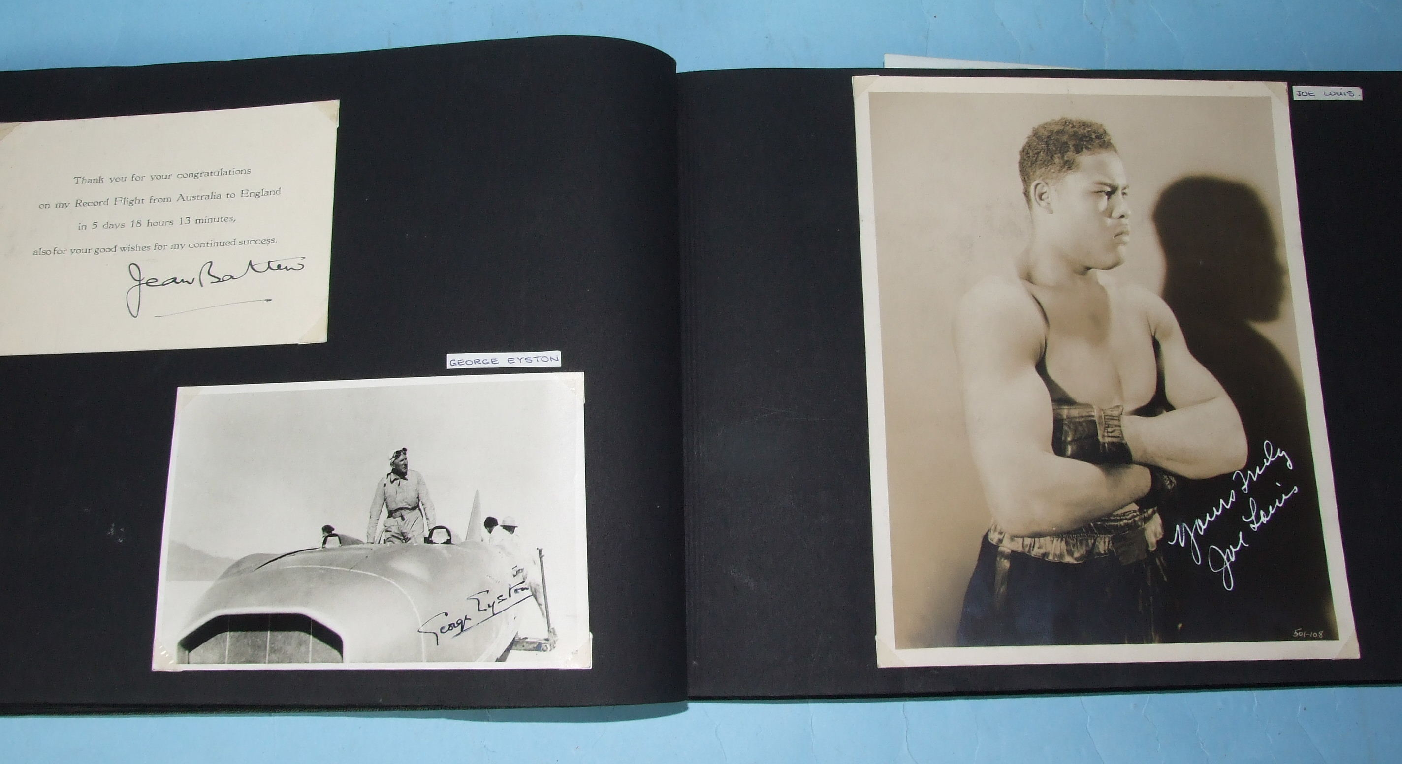 Lot 111 - An album of signed photographs, stage, screen and sporting, including Flanagan & Allen, Larry Adler,