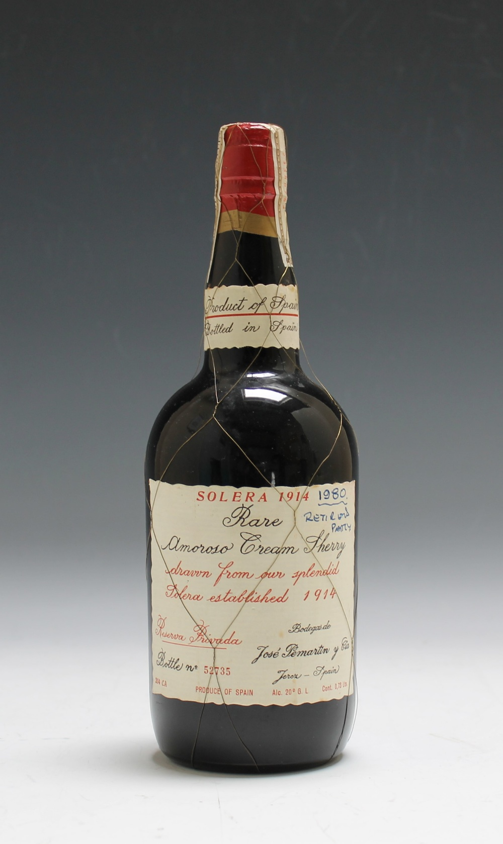 Lot 804 - 1 BOTTLE OF SOLERA 1914 RARE AMOROSO CREAM SHERRY, drawn from 'our splendid Solera established 1914,