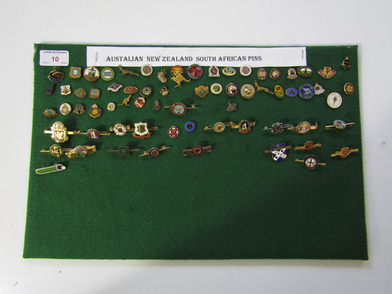 Lot 10 - A quantity of bowling club lapel badges including Australia and South Africa etc.