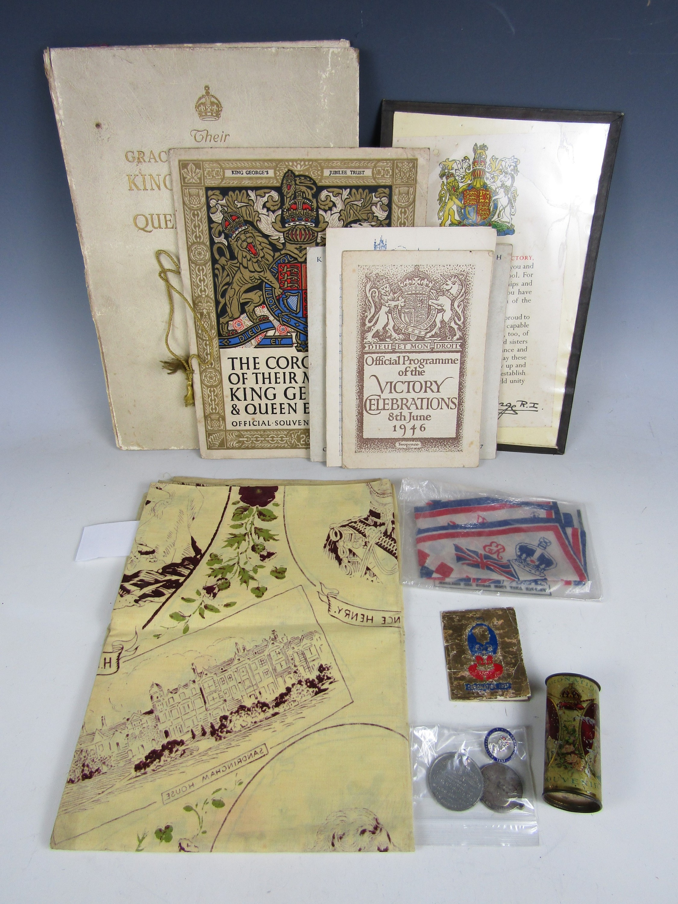 Lot 31 - Sundry Royal commemorative items including a George V and Queen Mary silver jubilee cotton print