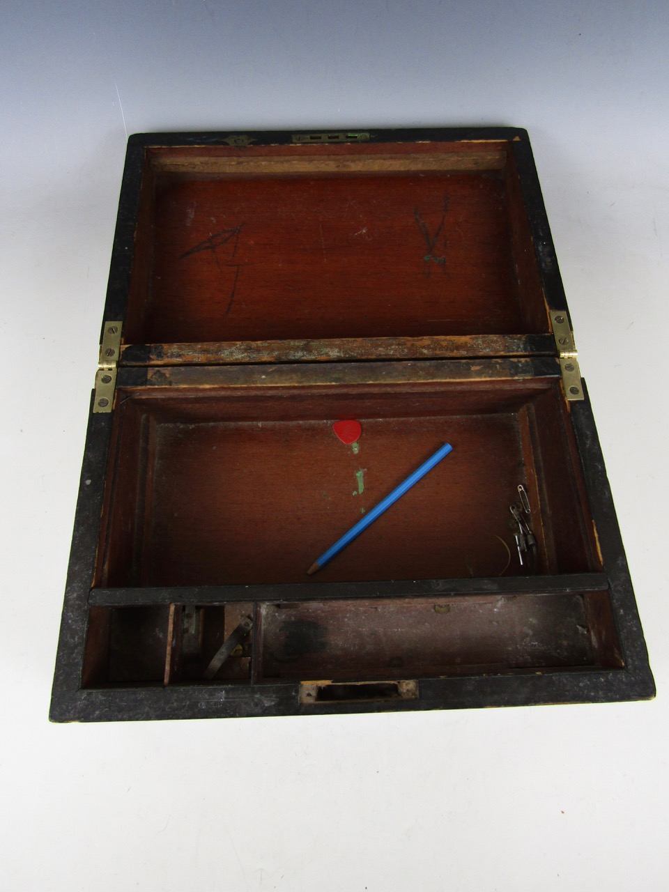Lot 30A - A Victorian inlaid writing slope (a/f)