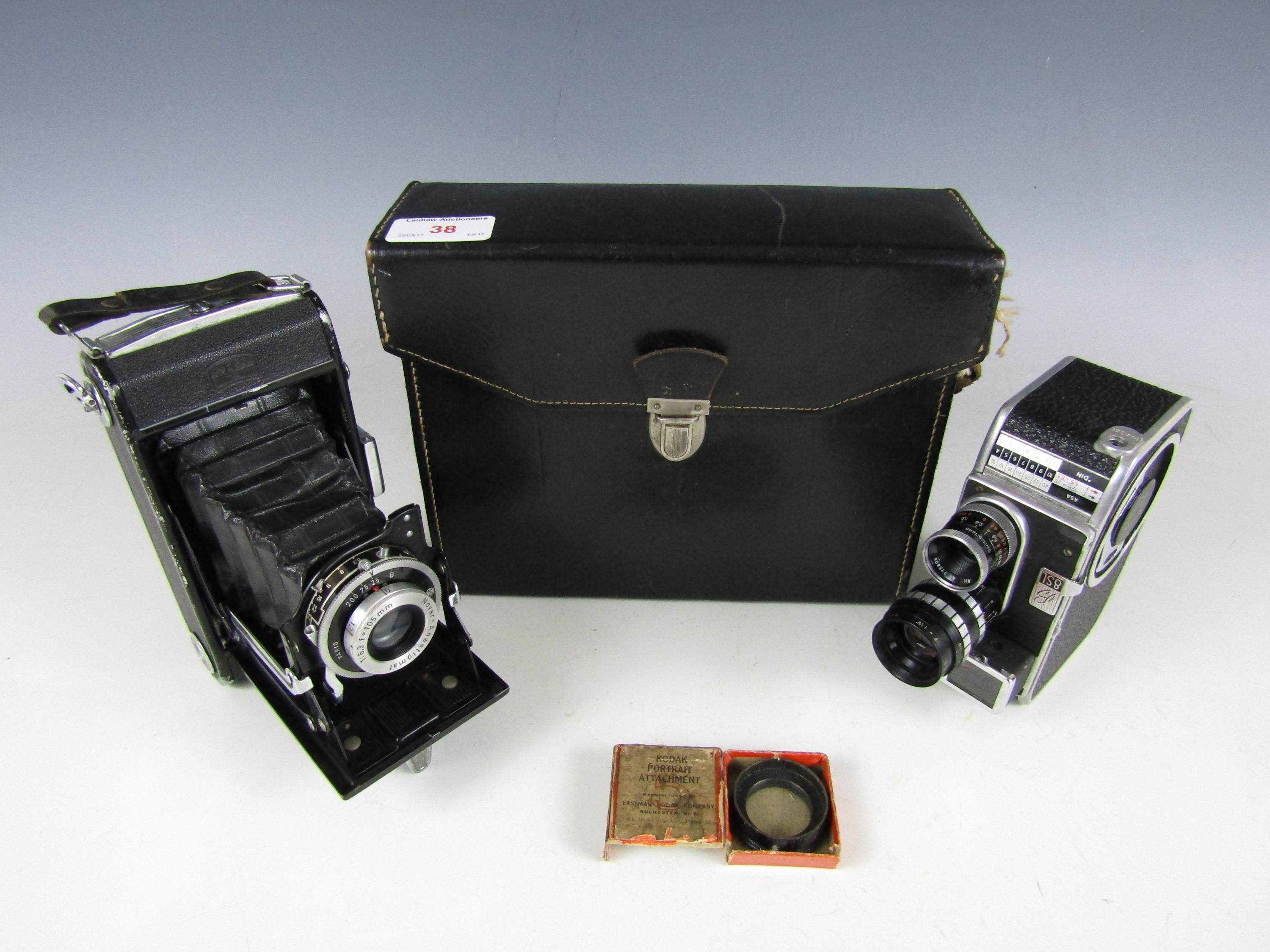 Lot 38 - A cased Bolex Paillard 8sl Swiss film camera together with a Zeiss Ikon camera and a boxed Kodak