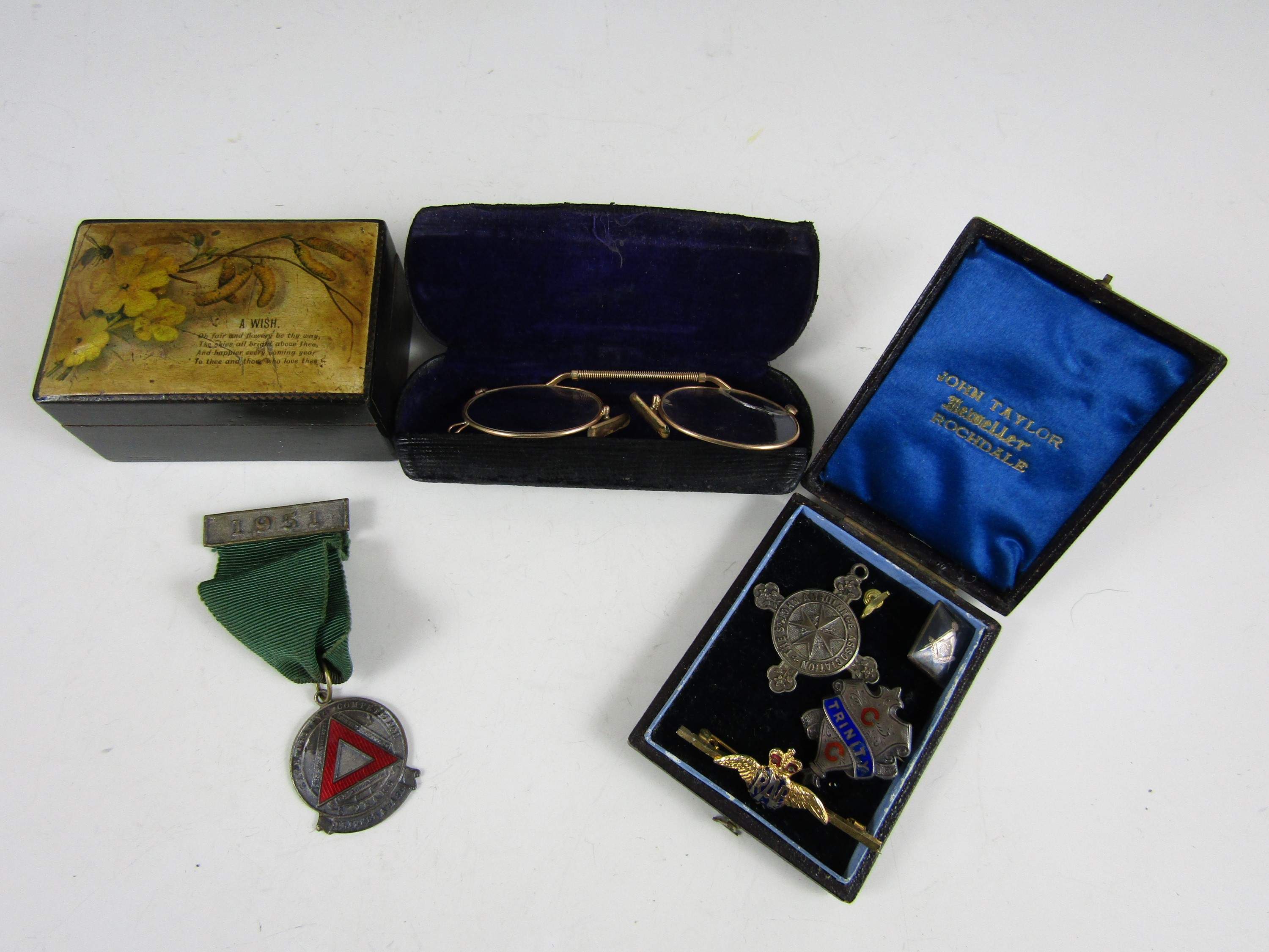 Lot 37 - Sundry collectors' items including 19th and early 20th Century silver prize fob medallions, a rolled