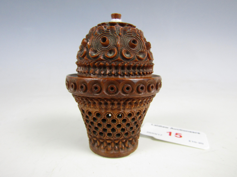 Lot 15 - A 19th Century coquilla nut pocket pomander