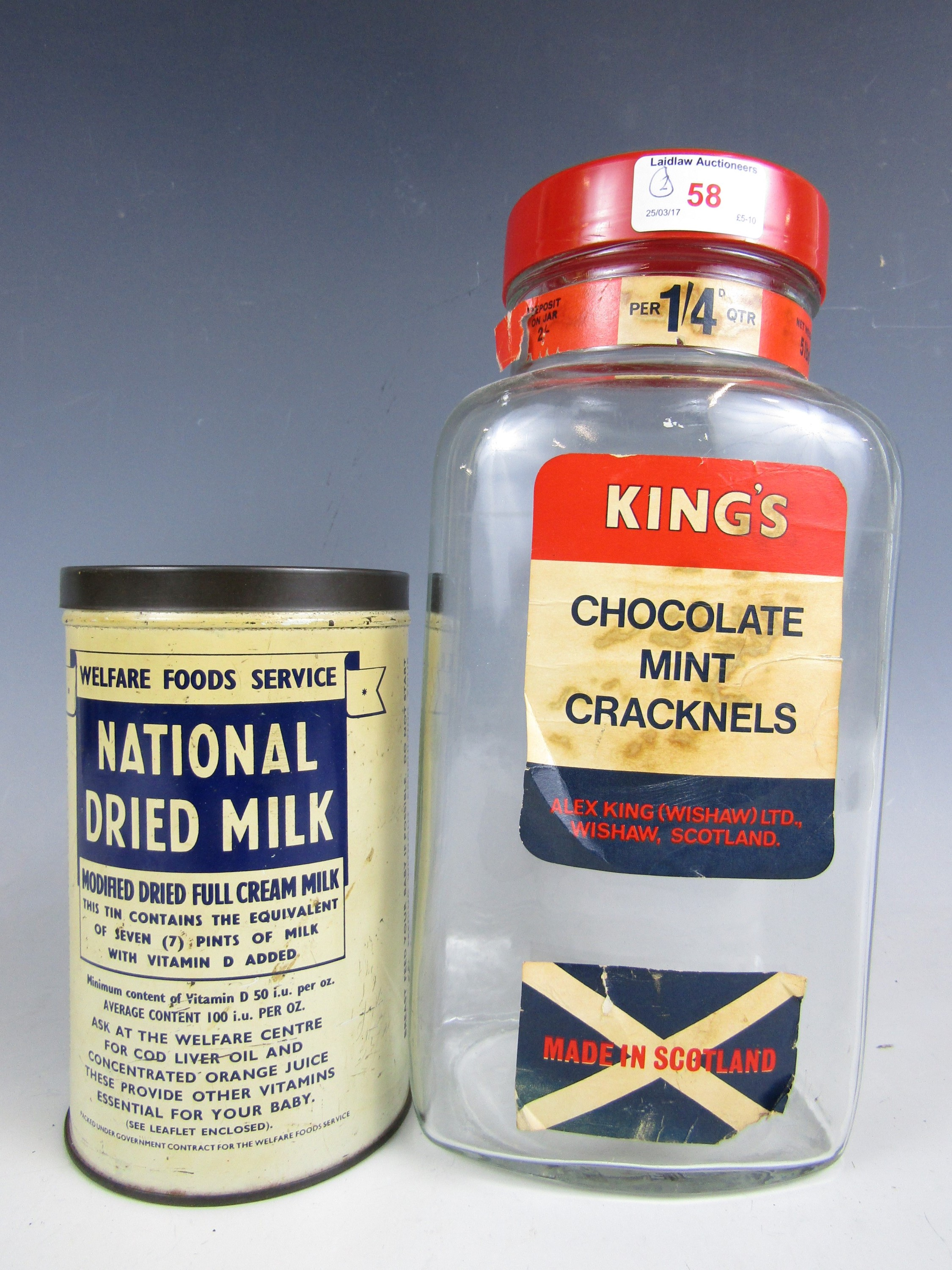 Lot 58 - A vintage National Dried Milk tin together with a King's Scottish sweets jar