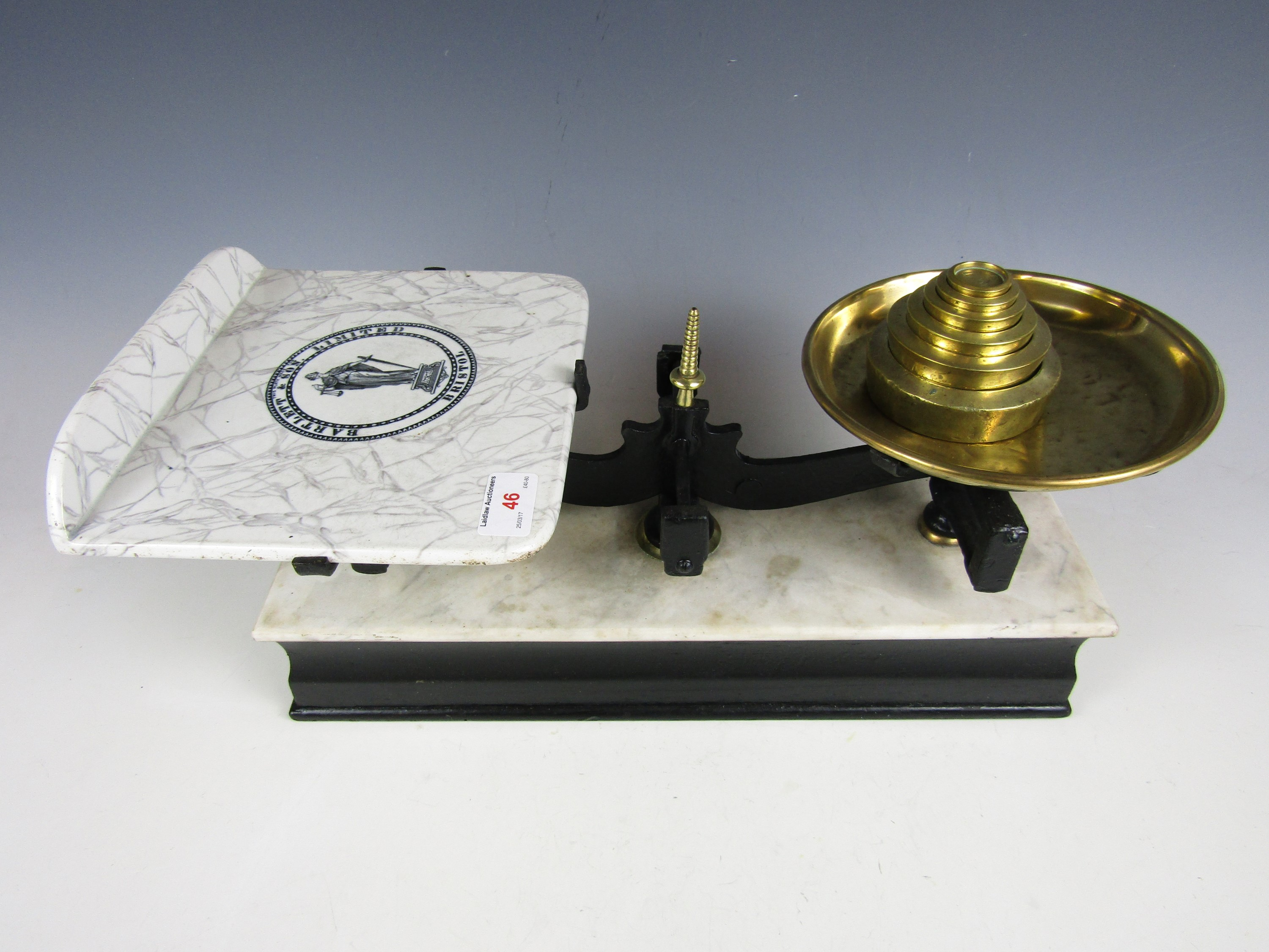 Lot 46 - A Bartlett & Son Ltd set of balance scales with weights