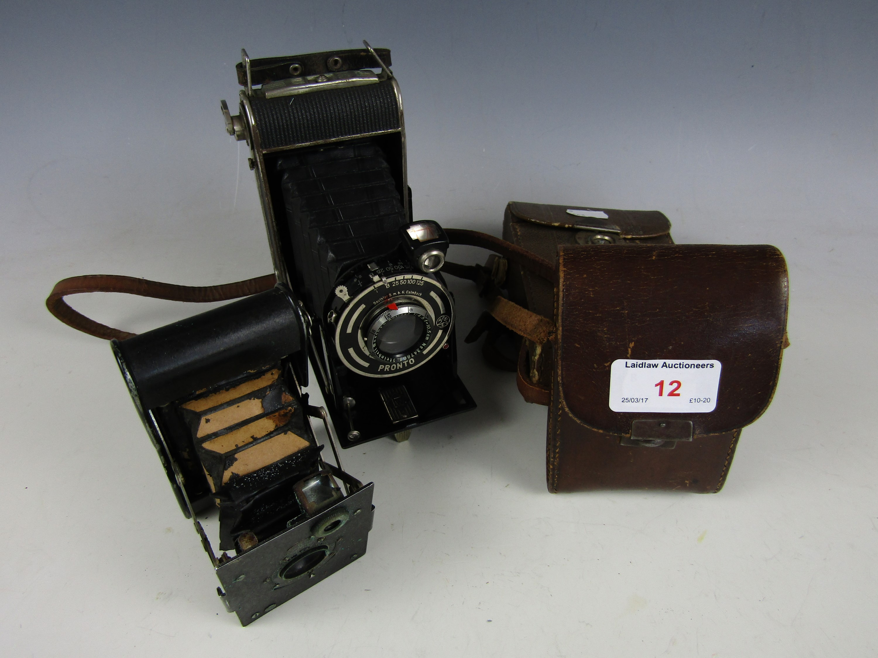 Lot 12 - A vintage Pronto folding camera together with an Eastman Kodak camera