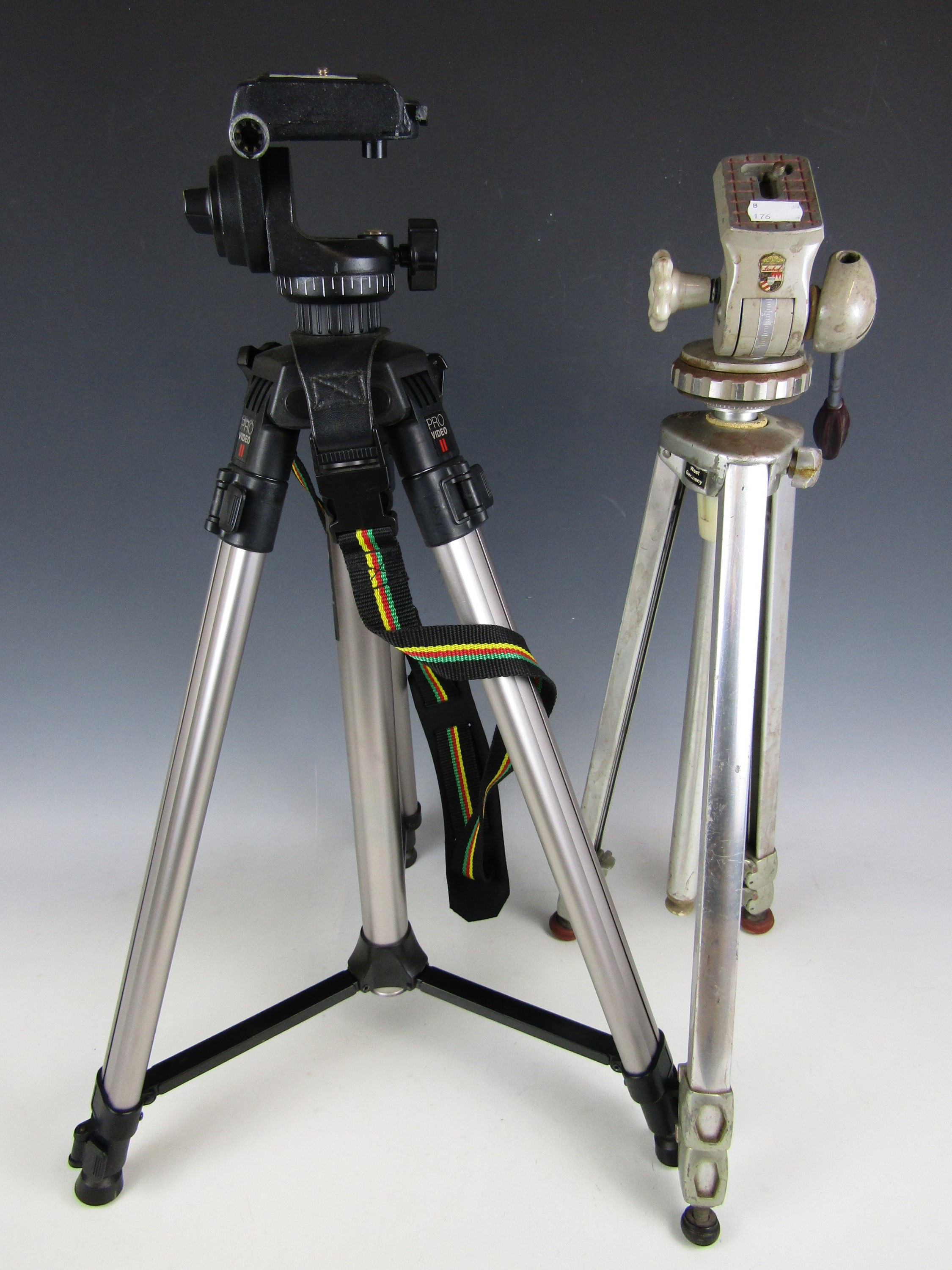 Lot 1 - Two vintage camera tripods including a Linhof and a Pro Video