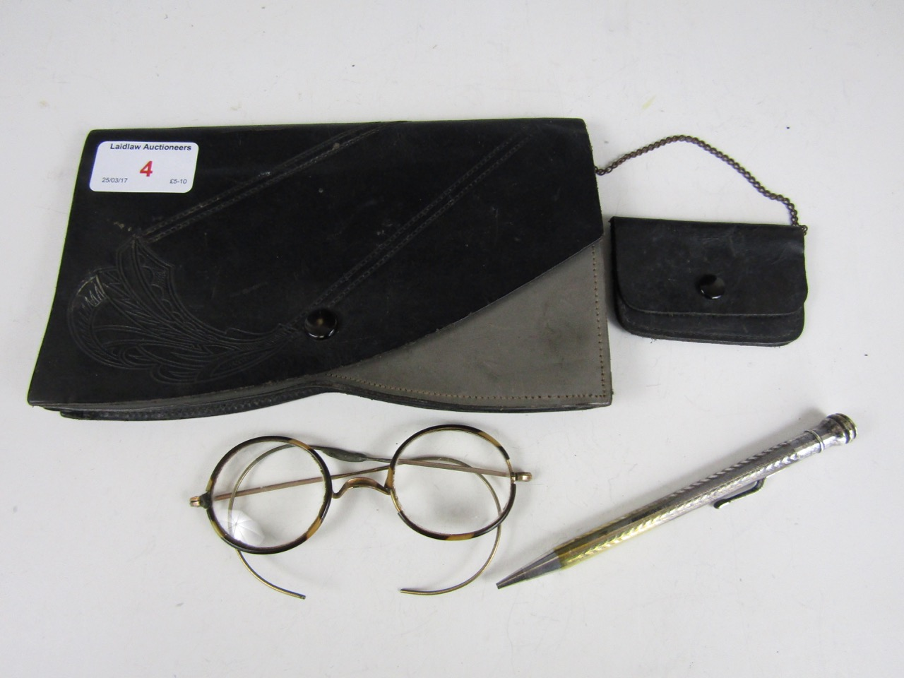 Lot 4 - Vintage tortoiseshell rimmed spectacles, a propelling pencil and a vintage purse
