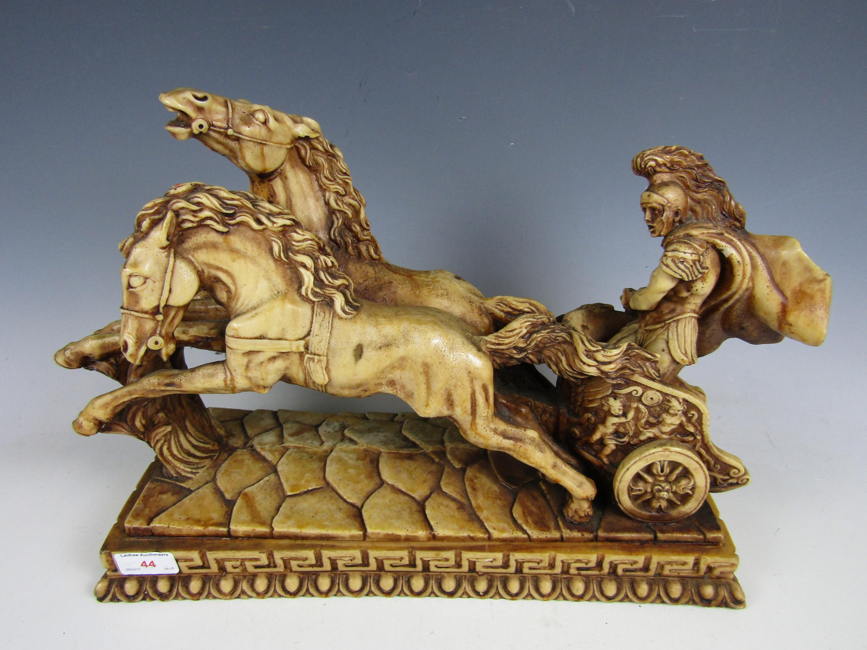Lot 44 - A modern resin sculpture of a Roman Centurion riding a chariot