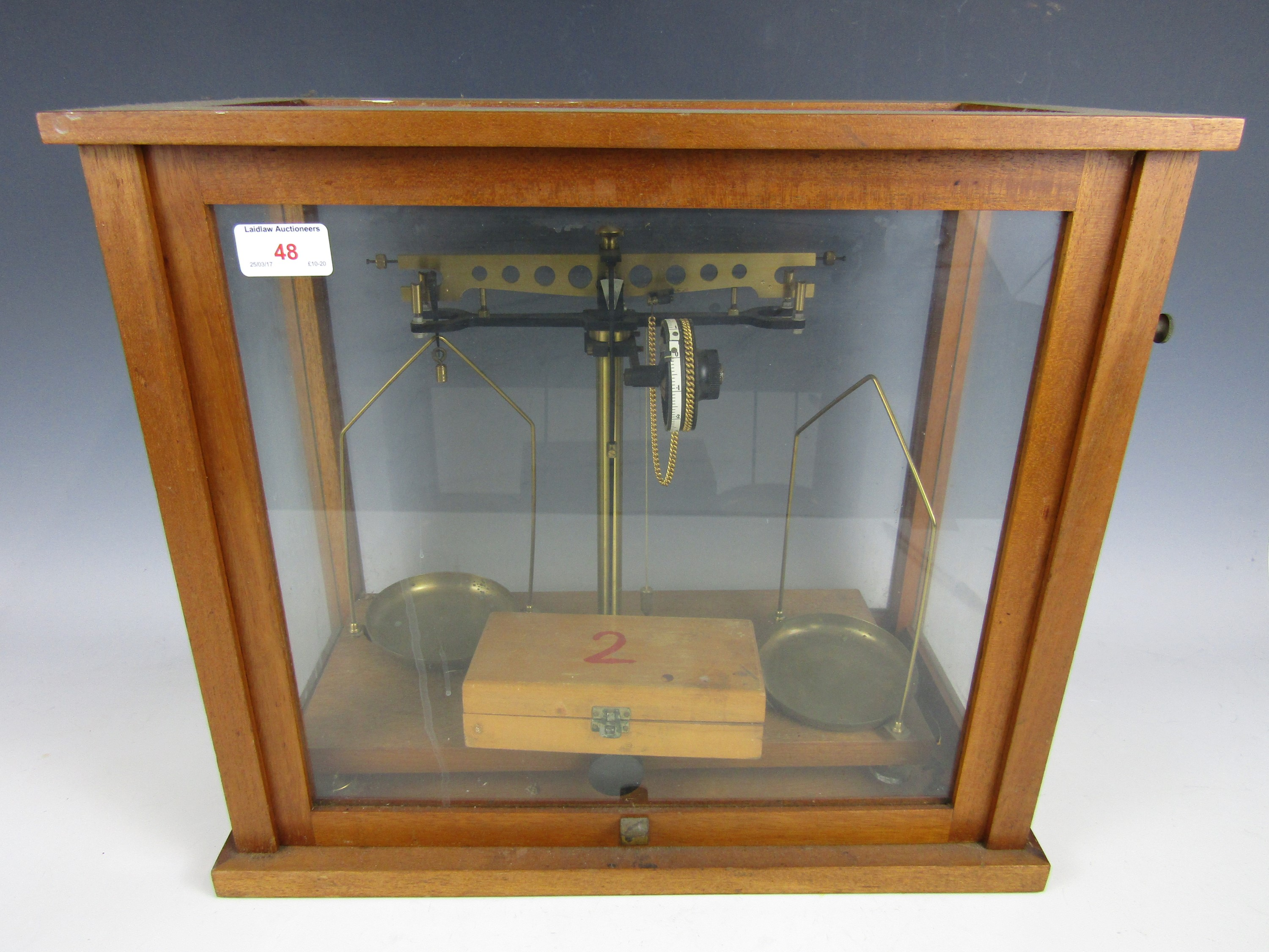 Lot 48 - A cased set of beam scales with weights