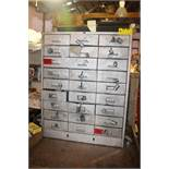 COLE STEEL 27 DRAWER CABINET WITH ASSORTED ELECTFICAL FITTINGS