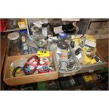 ASSORTED ELECTRICAL HARDWARE ON BENCH & PEG BOARD