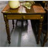 PITCH PINE SQUARE TABLE WITH DRAWER
