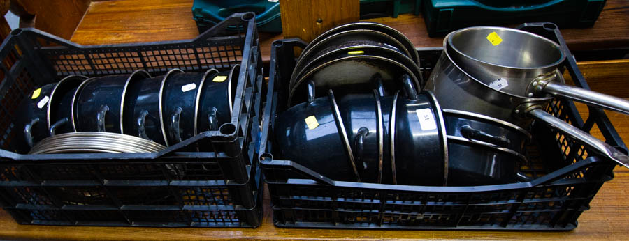 2 BOXES OF SAUCEPANS + FRYING PANS ETC