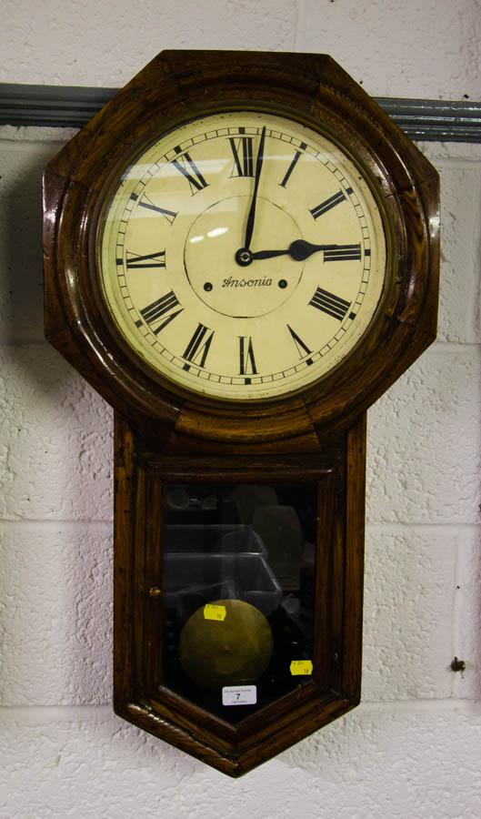 ANSONIA OAK CASE WALL CLOCK