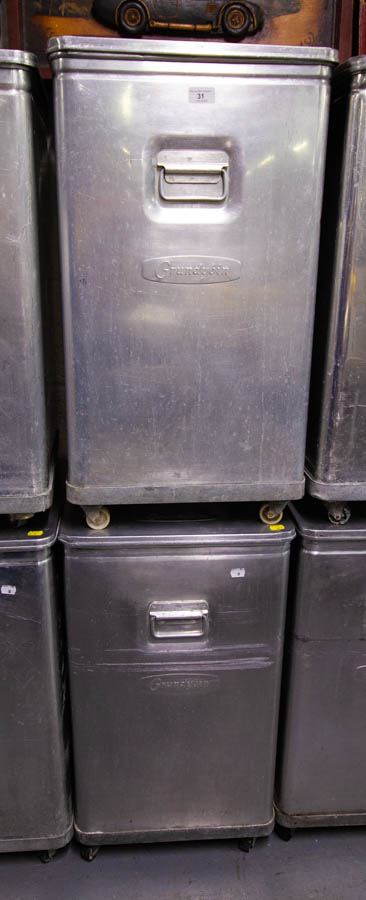2 GRUNDY BINS ON CASTORS