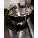 LOT OF STAINLESS STEEL STRAINERS + BUCKET + CAKE RINGS