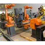 ABB ROBOTS IRB 1600-5/1.45 DUAL ARM ROBOTIC CELL WITH ABB TYPE MTC 750 POSITIONER AND IRC5 CONTROLS