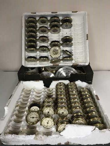 Lot 49 - A quantity of oak banjo barometer frames and barometer parts