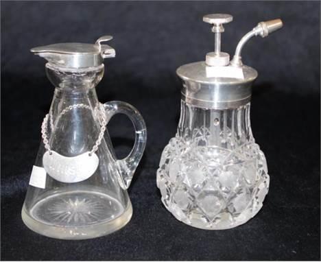 George V sterling silver capped whisky noggin and label, Hallmarked Birmingham 1911 & 1935, maker : H & H, sterling s