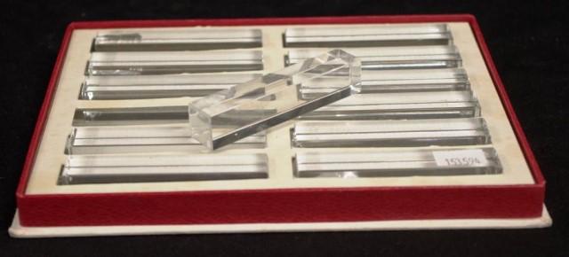 Boxed set twelve Baccarat crystal knife rests