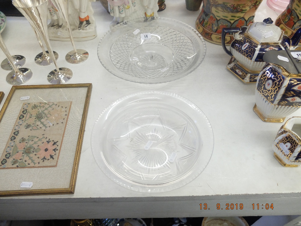 Lot 14 - A Victorian cut crystal bowl plus a cut crystal tazza