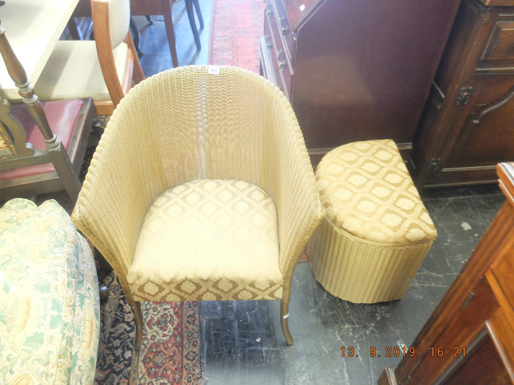 Lot 341 - A Lloyd loom chair and basket