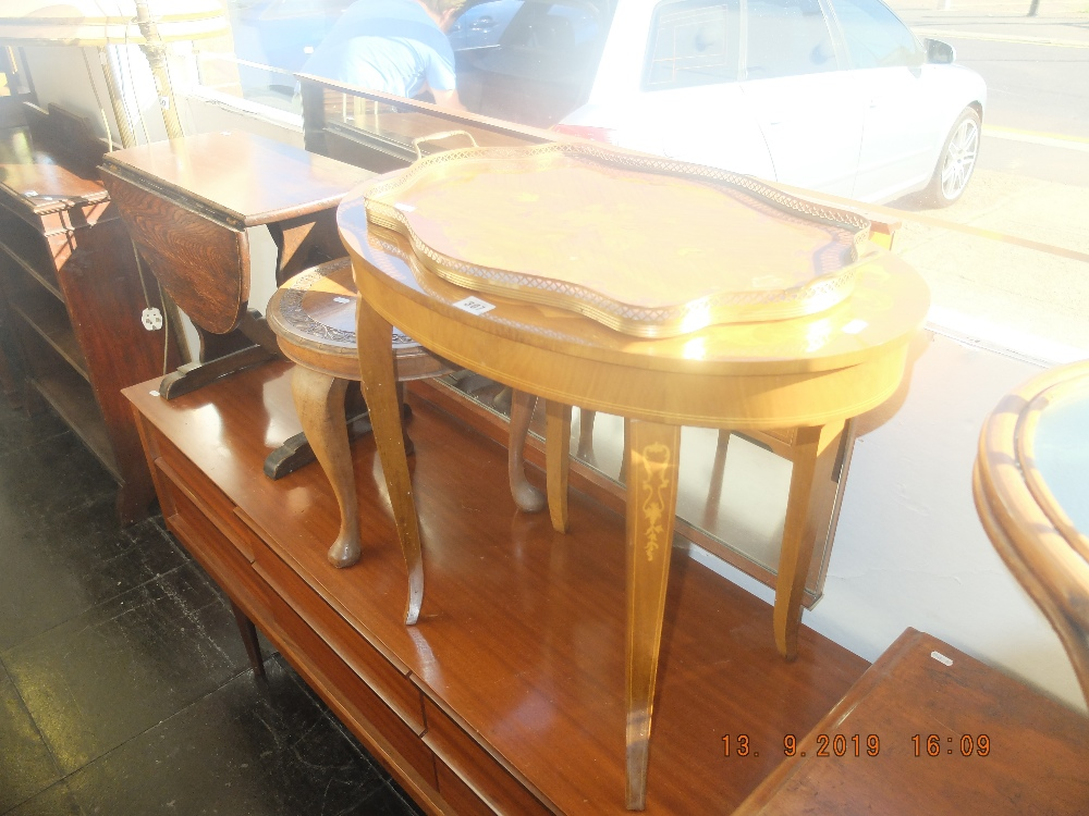 Lot 307 - Three small tables and a tray including Sorento ware