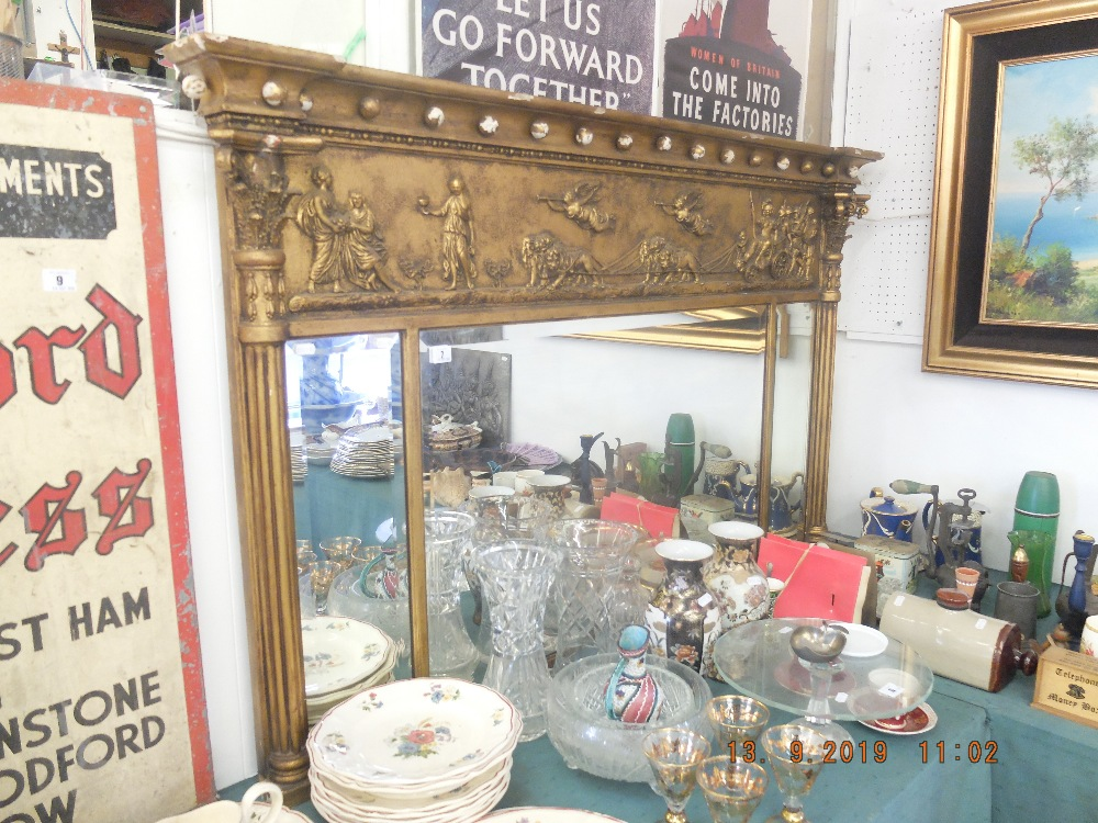 A Victorian gilt wood and gesso over mantle mirror