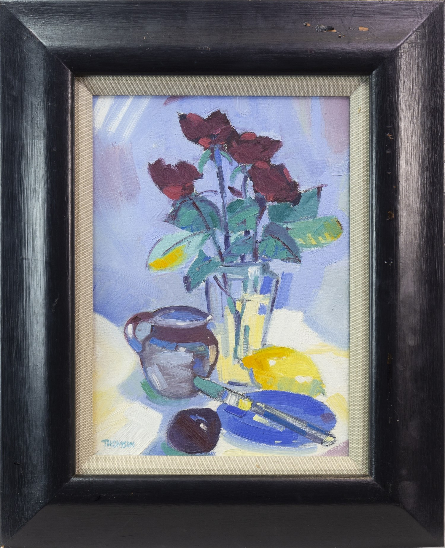 Lot 72 - STILL LIFE, AN OIL ON CANVAS BY MARION THOMSON