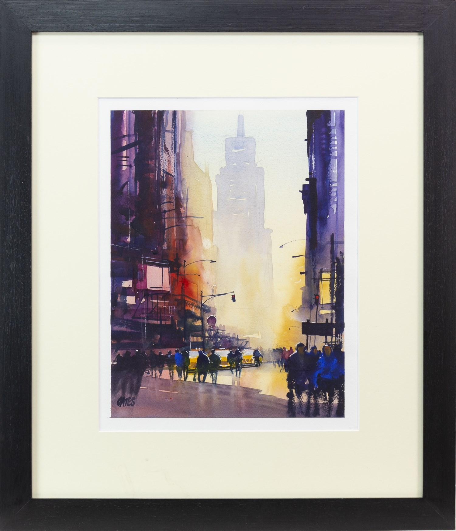 Lot 67 - TIMES SQUARE, NEW YORK, A WATERCOLOUR BY MARTIN OATES