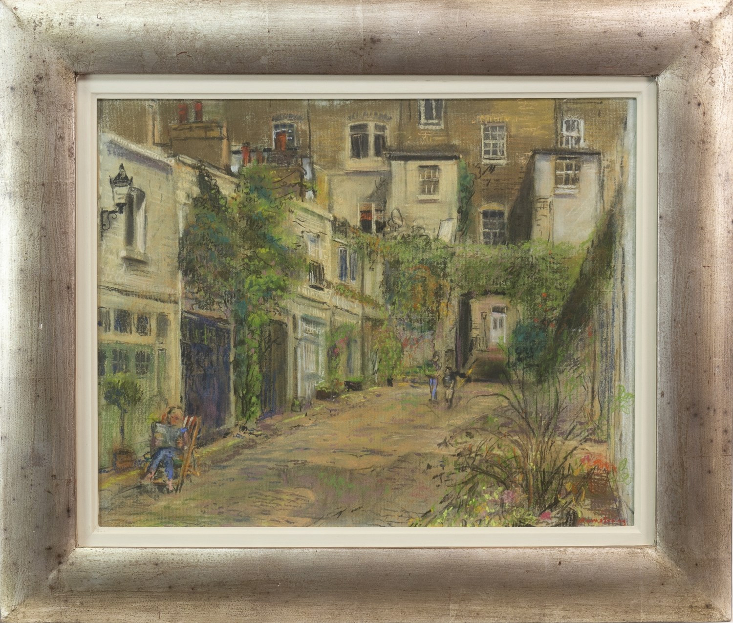 Lot 74 - A LONDON MEWS, A PASTEL ON PAPER BY ANTHONY ARMSTRONG