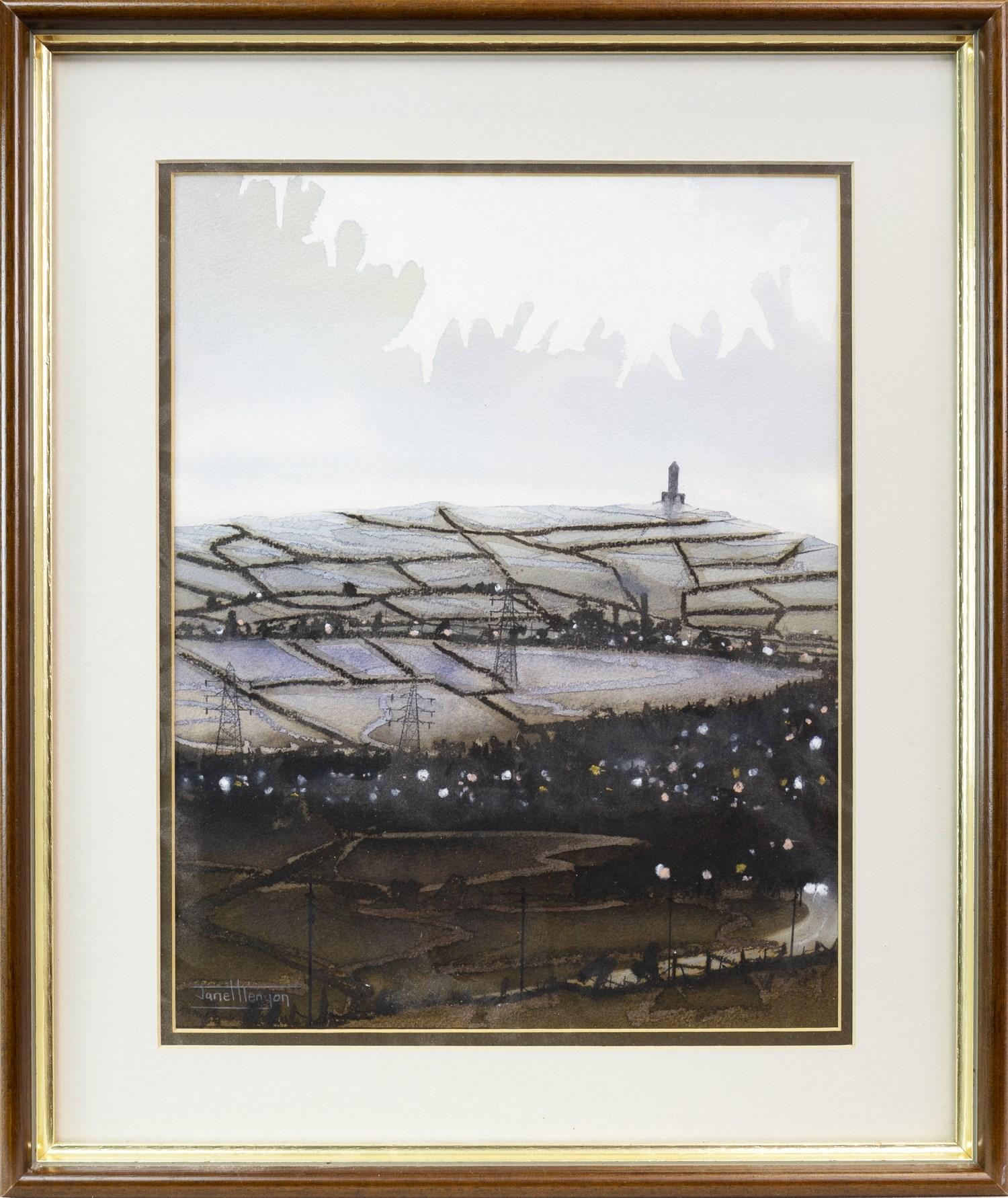 Lot 22 - DARWEN TOWER FROM EGERTON MOORS, A WATERCOLOUR BY JANET KENYON