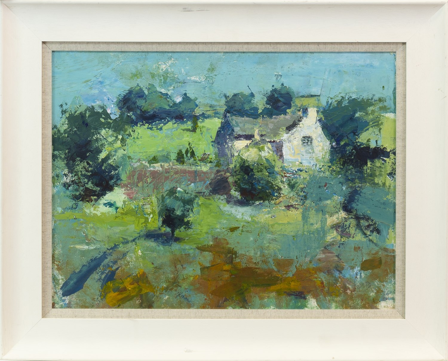 Lot 59 - SUMMER COTTAGE, AN OIL ON BOARD BY ANDREW HOOD