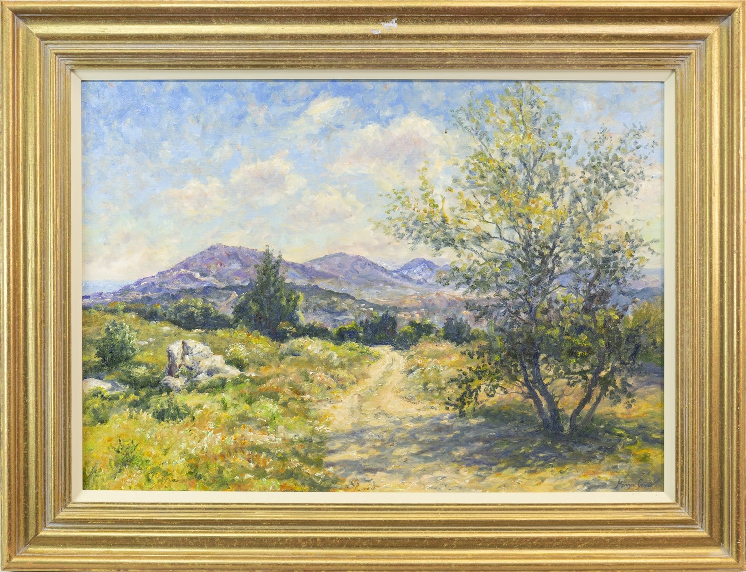 Lot 30 - BLUE MEDITERRANEAN HILLS, BY MERVYN GOODE