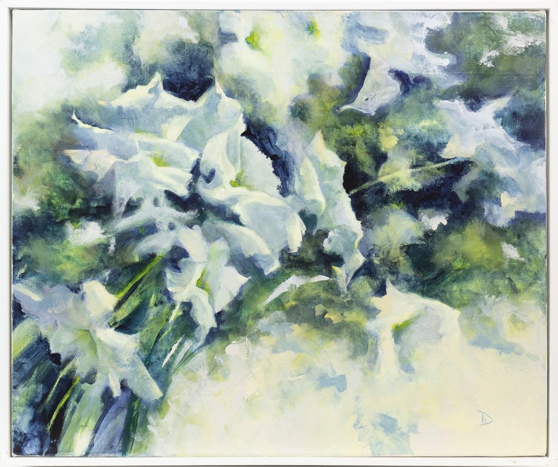 Lot 82 - WHITE PETUNIAS, AN ORIGINAL ACRYLIC BY DIANNE MCNAUGHTON